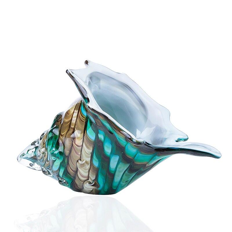 H & D Hand Geblazen Glas Murano Art Stijl Seashell Conch Sculptuur Oceaan multi color Home Office Decoratie Handwerk geschenken (Schelp)-in Figuren & Miniaturen van Huis & Tuin op  Groep 1