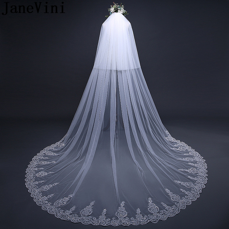 JaneVini Luxury Sequined Lace Edge Bridal Veil With Comb Wedding Long Veil Cathedrals Cover Face Two