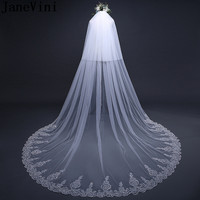 JaneVini Luxury Sequined Lace Edge Bridal Veil With Comb Wedding Long Veil Cathedrals Cover Face Two Layers White Bride Veils