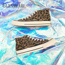 Woman Flats Canvas Shoes Leopard Women Casual Shoes Brand Sneakers Lace Up Autumn High Tube Shoes Female Round Toe New Arrival D moxxy leopard shoes woman print flats casual shoes woman lace up golden canvas shoes autumn trainers high top sneakers women