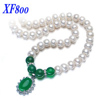 XF800 Natural Freshwater Pearl Neckclace 9 10MM Green Agate White Real Pearl Chokers Necklaces For Women