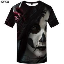 KYKU Clown T-shirt Men Skull Tshirt Hip Hop Flower Streetwear Terror Funny T Shirts Anime Clothes Cool Mens Clothing 2018