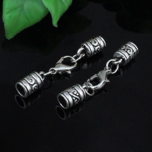 10sets/lot Fashion Zinc Alloy Cord End Caps Set Fit 5mm Cord For Necklace Bracelet Connectors Clasp Total Length:44mm K05227