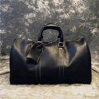 Luxury Fashion Natural Genuine Leather Men's Duffel Bags Retro Cowskin Handbags Short Casual Business Trip Shoulder Travel Bag