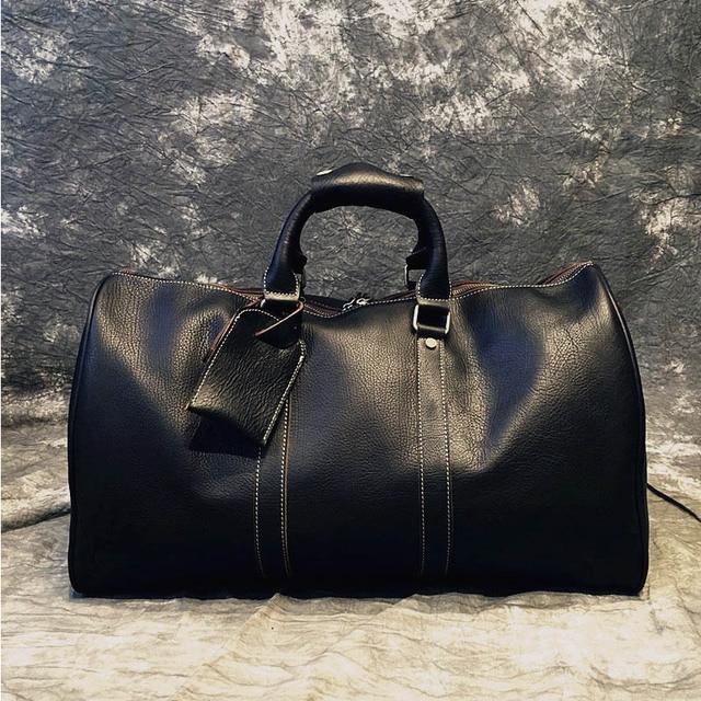 Роскошные модные из натуральной кожи Для Мужчин's Duffel сумки ретро воловьей Сумки короткие Повседневное Бизнес поездки плечо дорожная сумка