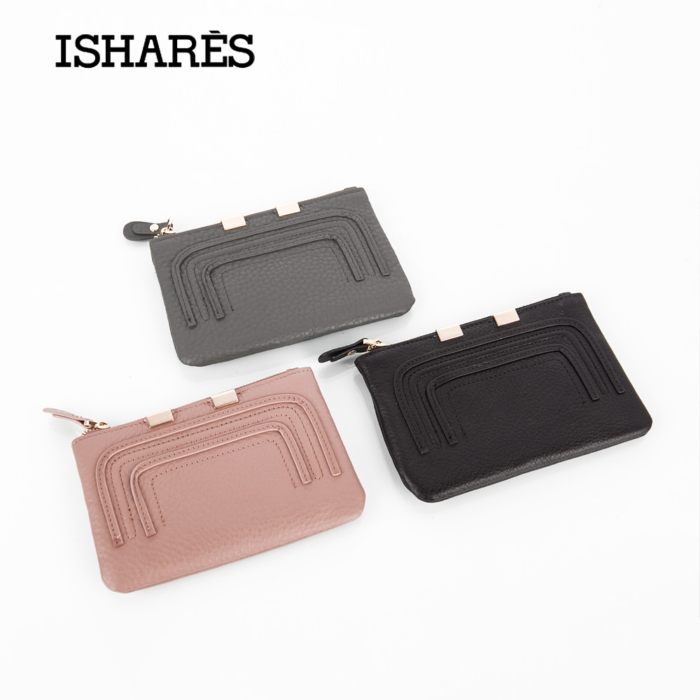 ISHARES Exquisite Genuine Cow Leather Short Wallet Fashion  Women men Mini Purse Simple High Quality coin key card Holder IS6119 terse key wallet men lettering handmade leather calfhide bespoke wallet men key holder exquisite hand patina good quality