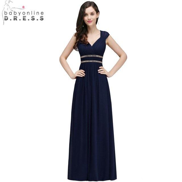 e345cb1f75b81 US $43.7 27% OFF|Babyonline Navy Blue Simple Chiffon Long Evening Dresses  2019 Sexy Open Back Formal Party Dresses vestido de festa-in Evening  Dresses ...