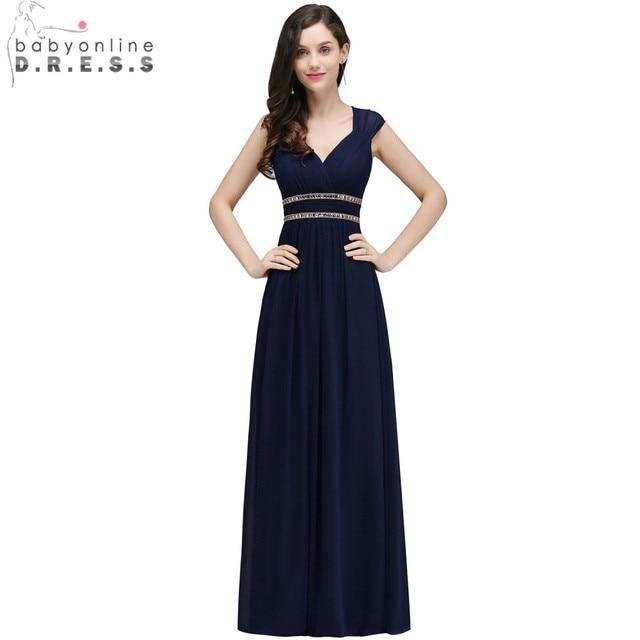 fb80c60cf Babyonline azul marino Simple de noche largo de gasa vestidos 2019 Sexy  espalda abierta Formal vestidos