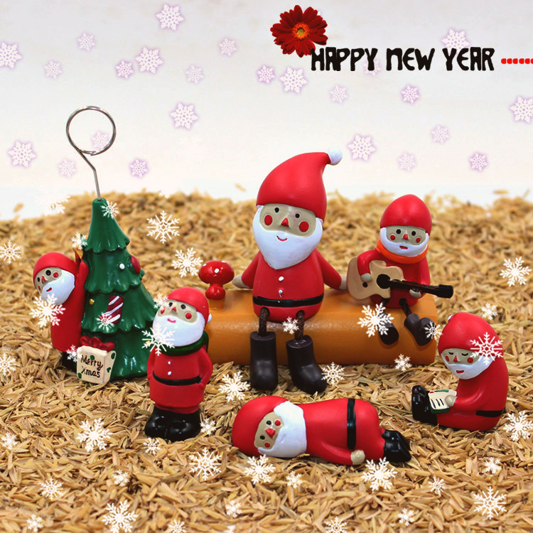 7 arten von Weihnachtsmann mini puppe serie weihnachtsszene harz ...