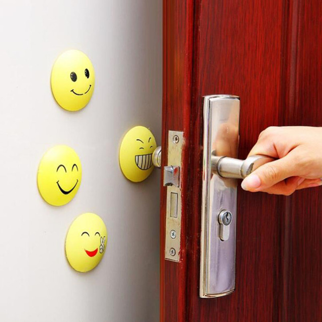 Wall Stickers Rubber Door Handle Knob Door Lock Anti-shock Pad Emoji Crash Pad Wall : door emoji - pezcame.com