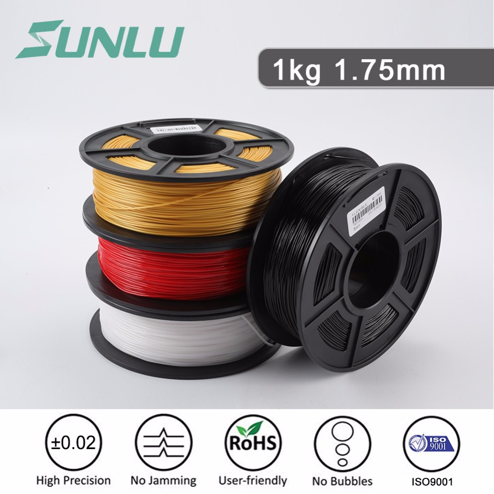 SUNLU PLA 3D Printer Filament 1.75mm 1kg 2.2LBS Spool Black Dimensional Accuracy +/- 0.02mm for Most FDM 3D Printers & 3D Pens sunlu 3d printer filament color pla 1 75mm 3 0mm 1kg supplies