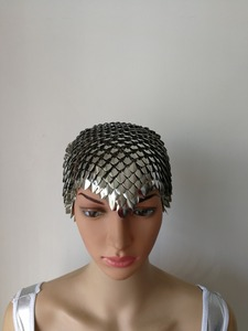 Image 4 - New Fashion Scalemail Mermaid Fish Scales Head Chains Layers Scale Chainmail Silver Fish Scale Head Hair Chains Jewelry