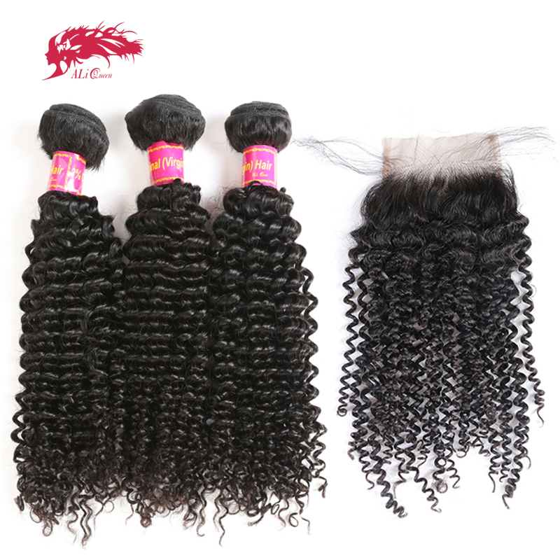 Ali Queen Afro Kinky Curly Bundles With Closure One-Donor Unprocessed Virgin Brazilian Human Hair 4x4 Swiss Lace Free Part
