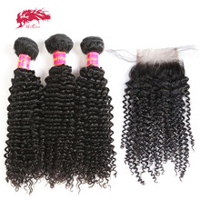 Ali Queen Afro Kinky Curly Bundles With Closure One-Donor Unprocessed Virgin Brazilian Human Hair 4x4 Swiss Lace Free Part(China)