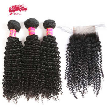 Ali Queen Afro Kinky Curly Bundles With Closure One-Donor Unprocessed Virgin Brazilian Human Hair 4x4 Swiss Lace Free Part - DISCOUNT ITEM  42% OFF All Category