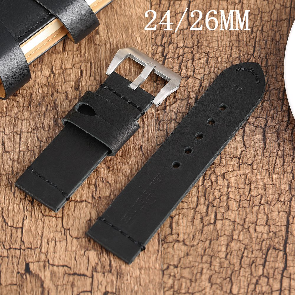 YISUYA 24/26MM Watch Band Strap Smooth Soft Genuine Leather Pin Buckle High Quality Aviator Belt For Women Men Watches Replace 20mm 22mm 24mm new soft smooth black high quality genuine leather watch band strap brushed steel clasp buckle for brand