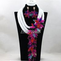 2016 Terrific New Chunky Layered White Nigerian Beads Jewelry Set Wedding African Jewelry Sets Handmade Free Shipping ALJ187