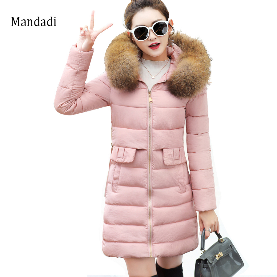 2017 Winter Jacket New Fashion Women Down jacket Slim Large size Hooded Jacket  Women Thick Warm Cotton Outwear with fur collar winter feather cotton women outwear long section thick section slim hooded coats large fur collar large size down jacket lx165