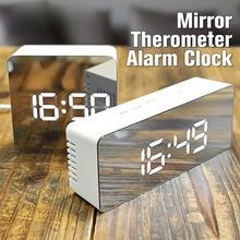Digoo DG-DM1 Wireless USB Mirror LED Digital Therometer Time Temperature Night Mode Lights Black Snooze Alarm Clock