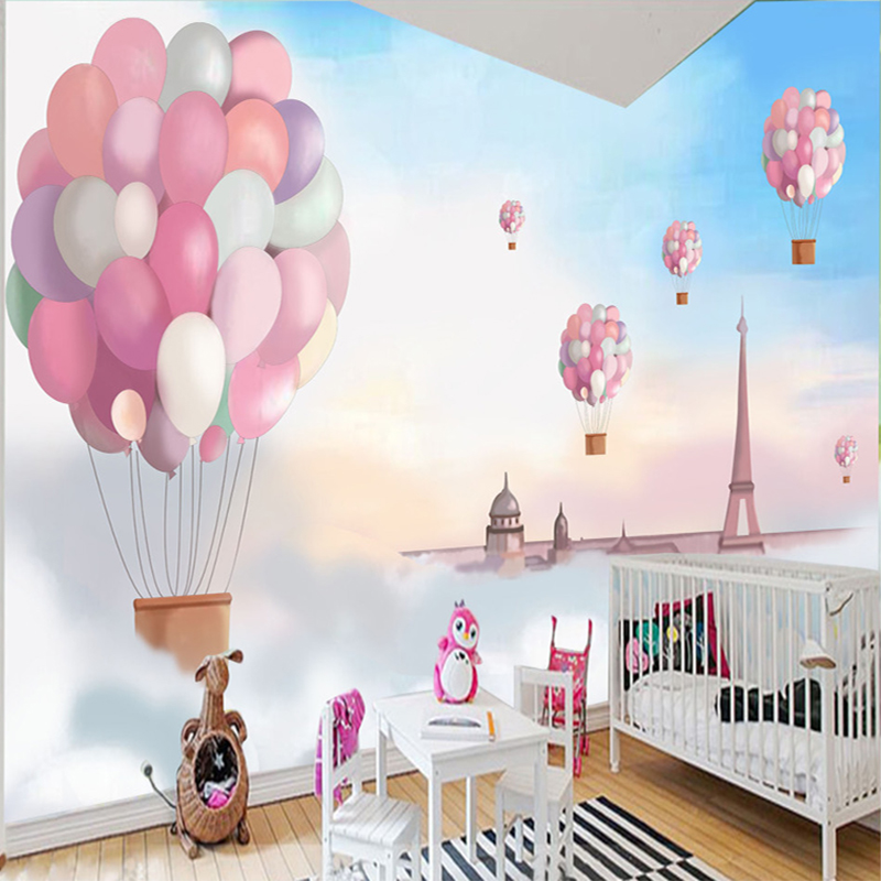 Photo Wallpaper 3D Cartoon Color Balloon Blue Sky Mural Wallpaper Kid's Room Landscape Mural Home Decor Papel De Parede Infantil colorful creative world map photo wallpaper living room office modern simple decor 3d non woven mural papel de parede infantil