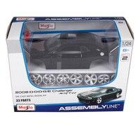 Maisto 1:24 2008 dodge challenger srt8 black assemble car die sets vehicle model diecast mannal toy car model for men 39280