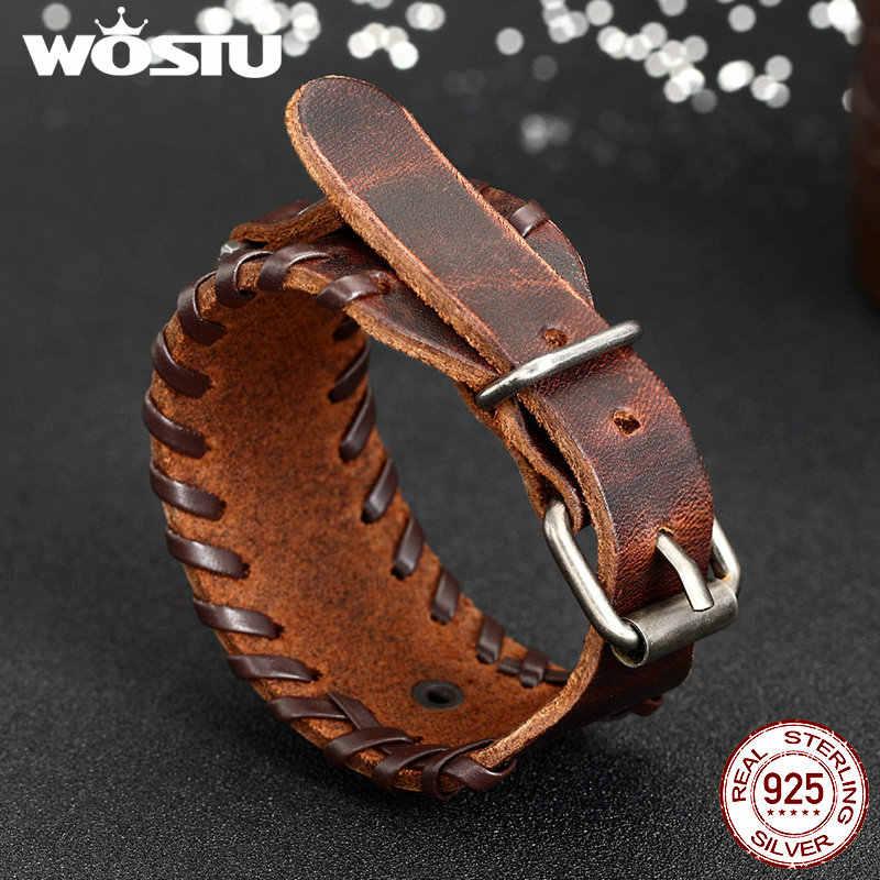 100% prawdziwej skóry bransoletka Wrap w stylu Vintage Punk brązowy mankiet szerokie bransoletki dla kobiet mężczyzn biżuteria unisex prezent XCJ0339
