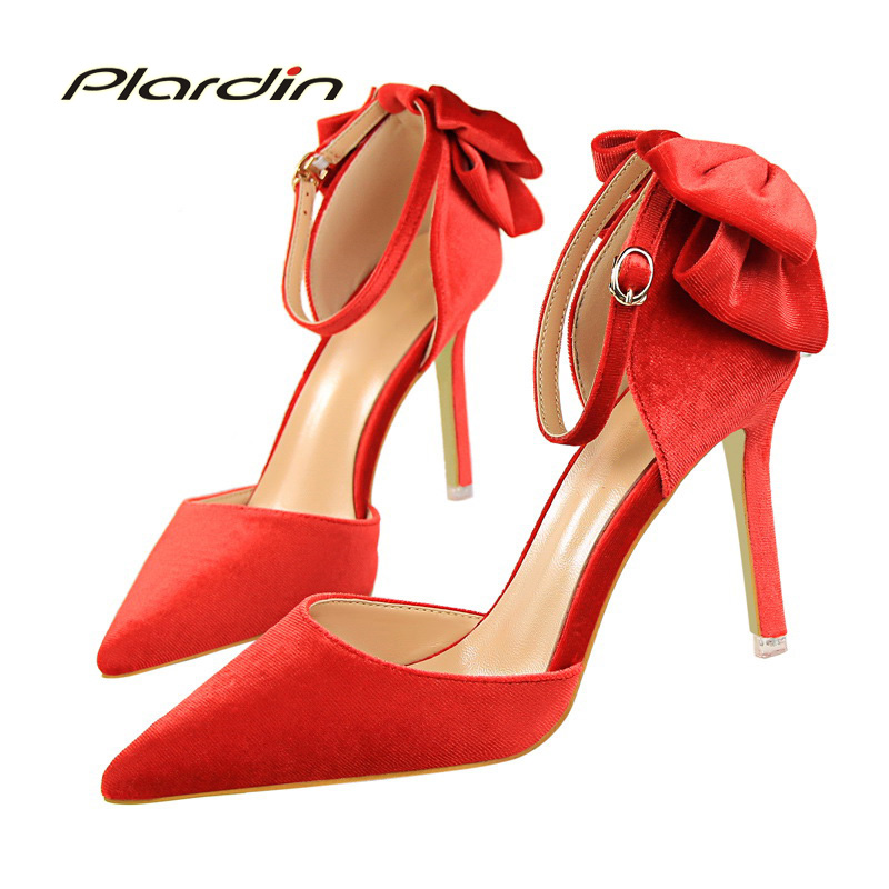 plardin New Shoes Woman Sweet Pointed Toe Women Party Butterfly-knot Suede material Shallow Mouth Two Piece Side High Heel Pumps new flock high big size 11 12 women shoes wedges pointed toe woman ladies butterfly knot casual spring autumn sweet single shoes