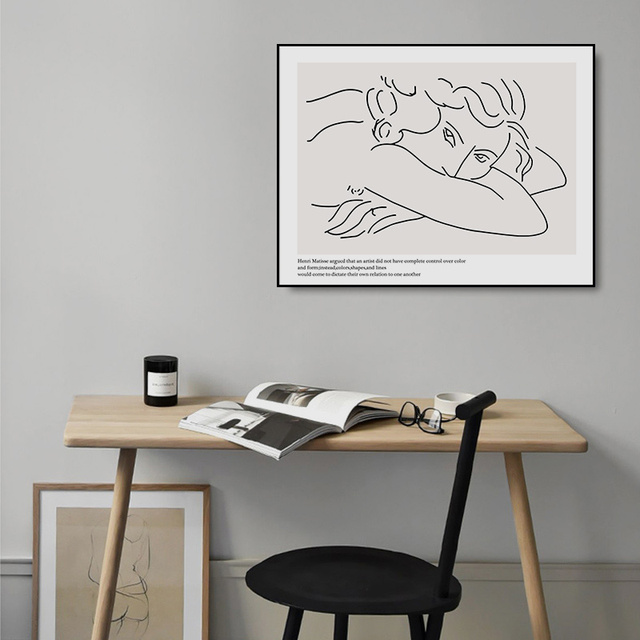 Abstract Picasso Figure Dove Minimalist Canvas Printings Wall Art