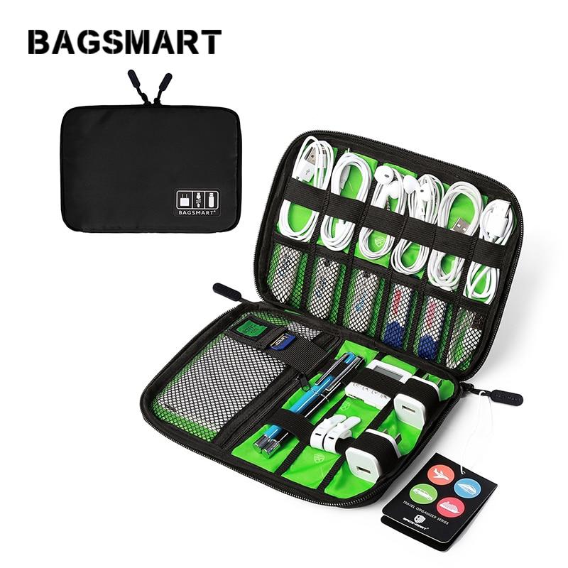 BAGSMART Elektronisk Tillbehör Arrangör För Hörlurar Data Linje SD-kort USB-kabel Digital enhet väska Travel Nylon väska