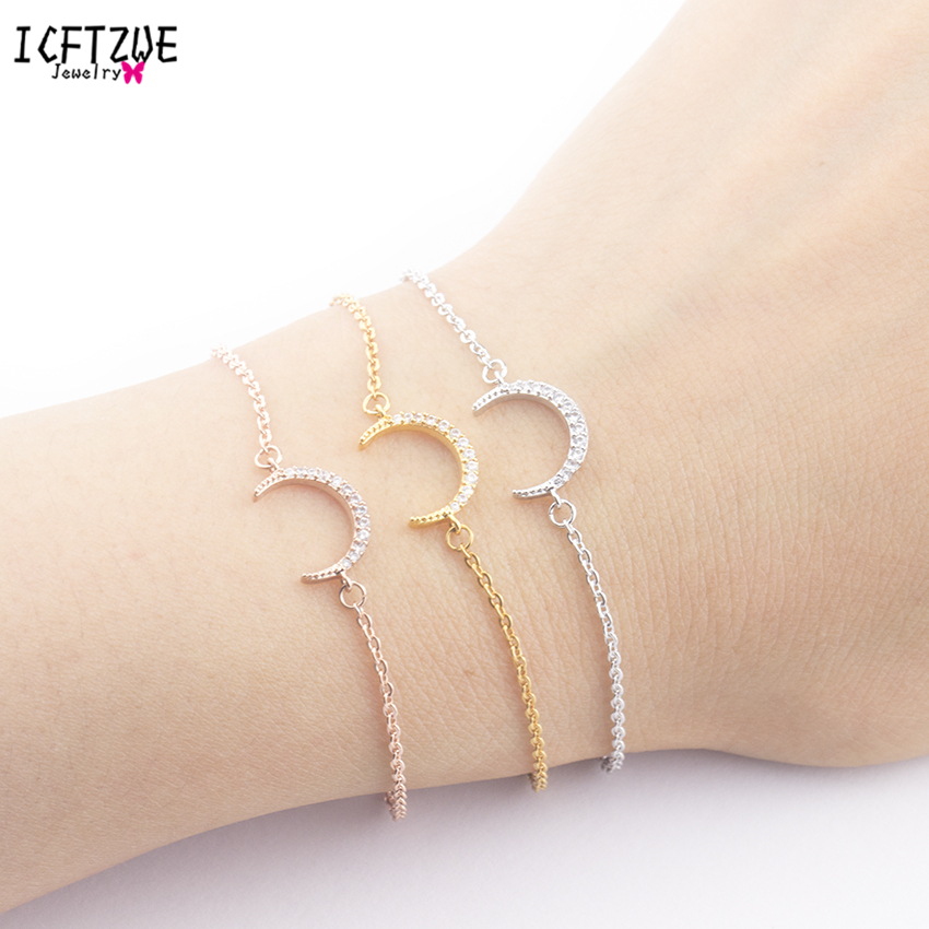 ICFTZWE  Gold Colour Islam Crescent Bracelets Body Jewelry Stainless Steel Bracelet Femme Hand Accessories For Women