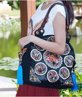 New Chinese Style National Embroidery Bags Women Fashion Handbags Casual Embroidered Shoulder Bag Wood Beads Travel