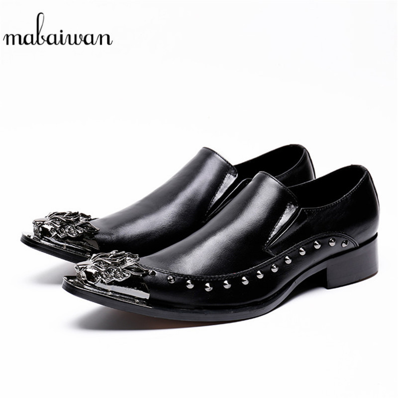 Mabaiwan Italy Black Fashion Men Shoes Rivets Slipper Flats Party Wedding Dress Casual Shoes Men Metal Toe Real Leather Loafers mabaiwan italy casual men shoes snakeskin leather loafers fashion slipper wedding dress shoes men slip on handmade party flats