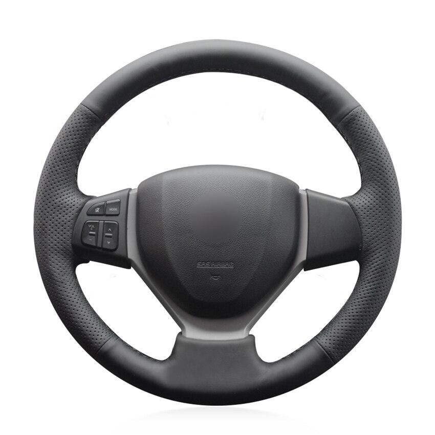 Couvre-volant de voiture antidérapant en cuir véritable noir cousu à la main pour Suzuki Swift 2011-2017 Vitara 2015-2019 Celerio