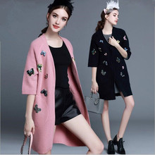 autumn winter long sweater sweet butterfly embroidered beaded diamond mink cashmere overcoat women's V-neck cardigan jacket