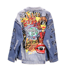 2019 New BF Fashion Denim Coat Women Harajuku Graffiti Print Worn Out Long Sleeve Denim Jacket Girl Students Jeans Coats Outwear