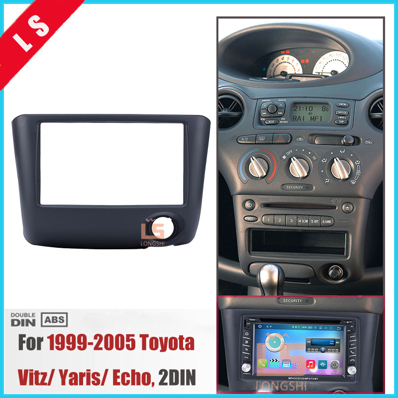 173*98MM Double <font><b>Din</b></font> Car Radio Fascia for 1999-2005 Toyota Vitz Yaris Echo 2DIN Installation Frame Dash CD DVD Player Panel,<font><b>2</b></font> <font><b>DIN</b></font> image