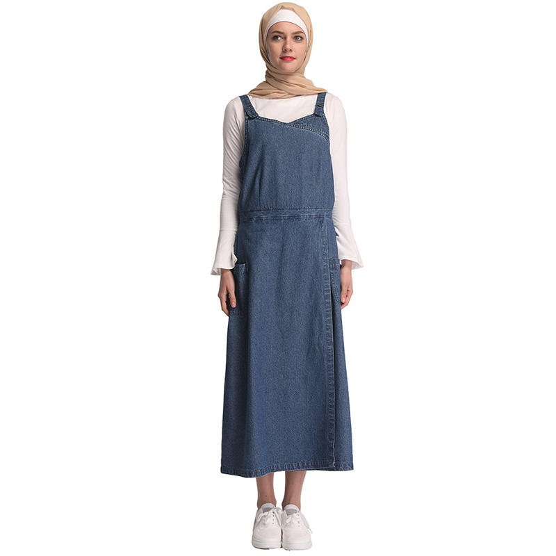 Denim Strap Vestidos Kaftan Arabic Islamic Muslim Hijab Dress Abaya Dubai Tesettur Elbise Robe Musulmane Caftan Turkey Clothing