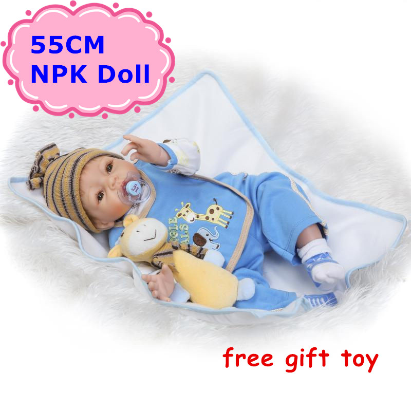 NEW NPK 55cm Reborn Bebe Doll Realistic Soft Silicone Cotton Body Baby Dolls With Cute Doll Clothes& Free Toy Baby Toy For Girls 17 42cm bebe bouquets doll soft cloth body lovely baby silicone reborn baby dolls npk