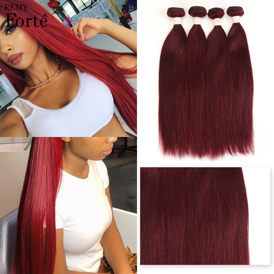 Bundles Red Hair Vendors Weave Remy Forte Burgundy Straight Brazilian 30inch 3/4