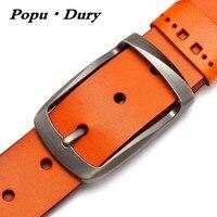 Popu Dury Classical High Quality Brand Designer Men Belts Pure Cowskin Formal Belts Men Luxury Straps