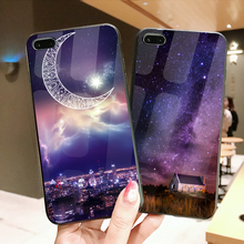 Tempered Glass Case For iPhone 8 7 6 Plus Starry Sky Shockproof Glossy Cover XS Max XR Film