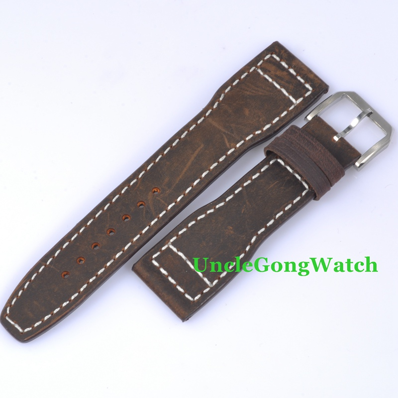 Watch Parts , Parnis 22mm Brown Leather Stitches Straps, Bands for Watches Pin Buckle SP07