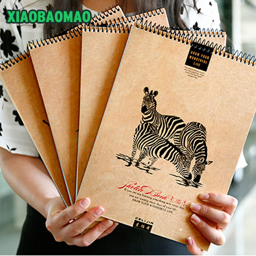 2017 New Blank Paper Classical Coil Sketchbook Diary A4 Painting Drawing Graffiti Sketch Book Notebook Pad School Stationery