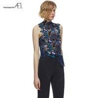 AEL Round Neck Sleeveless Irregular Edge Lace Women Vest 2017 Summer Self Portrait Ladies High Quality Tops Clothes