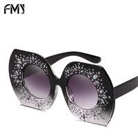 FMY Ladies Oversized Square Sunglasses Women Diamond Frame Mirror Sunglasses Brand Designer Sun Glasses Anti UV400