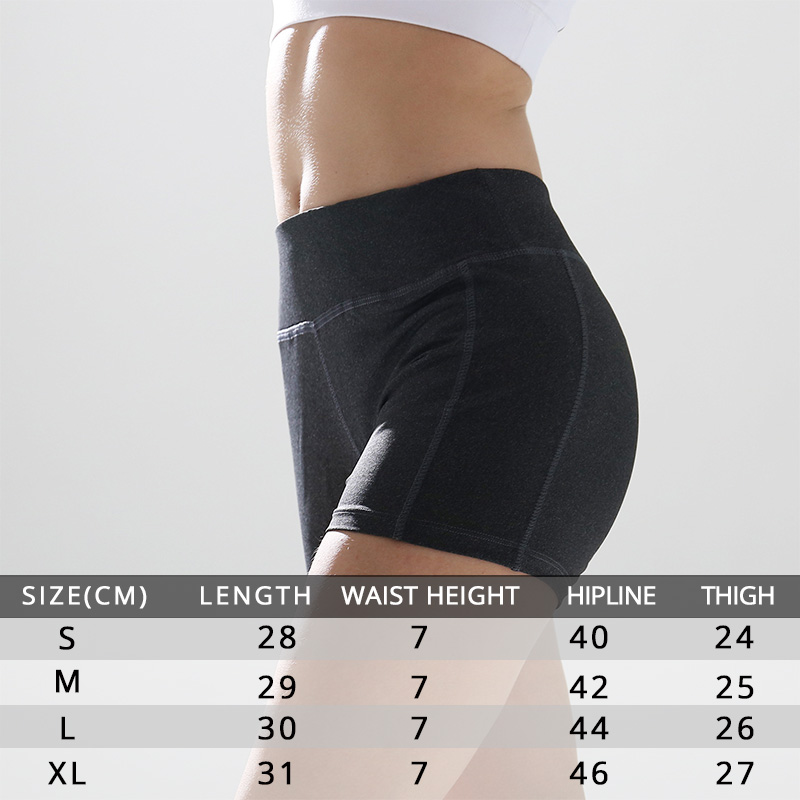 Soft High Waist Yoga Shorts Gym Fitness Polyester With Pocket Sport Shorts For Women Tight Short Workout Leggings Sportswear in Yoga Shorts from Sports Entertainment