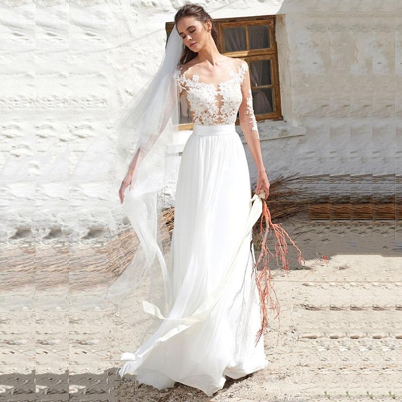 vestido de noiva 2019 Beach Wedding Dress Long Sleeve Chiffon Wedding Gown Sheer Neck Appliques Sexy A Line Bride Dress