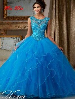 8d8eca9ea9c Vestido de 15 anos azul vestidos de Quinceañera de la joyería bola Vestido  tul barato vestidos de quinceañera 2019 dulce 16 vestidos Debutante vestidos