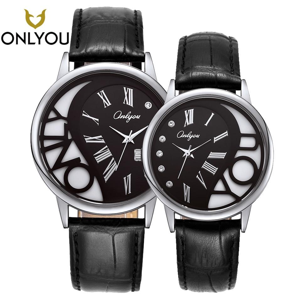 ONLYOU Lover Watch Creative Diamond Heart Shape Women Real Leather Strap Quartz Wristwatch Couple Gift Men Clock Black Top Bran