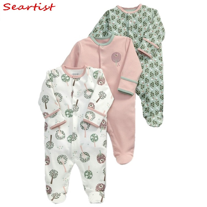 Seartist Rush Sale Newborn Footed Jumpsuit Kids Winter Autumn Pajamas Bebes Body Suit Footies Baby Boy Girl Clothes 3Pcs 30C